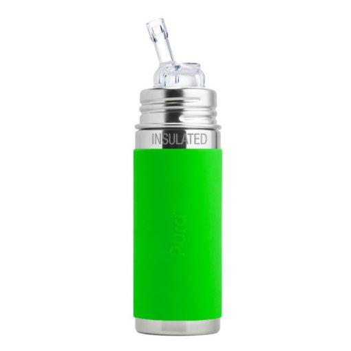 Termobutelka ze słomką i zieloną osłonką 260 ml