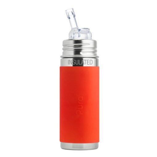Termobutelka ze słomką i pomarańczową osłonką 260 ml